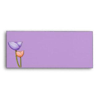 Sobre púrpura del naranja 10 de las flores simples