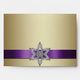 Sobre púrpura del navidad A7 del copo de nieve del