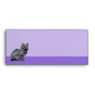 Sobre púrpura del papel con membrete del gato negr