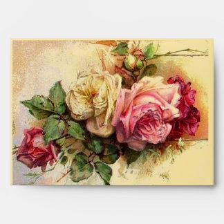 Sobre retro de los rosas del vintage