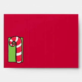 Sobre rizado de la tarjeta roja del bastón de cara