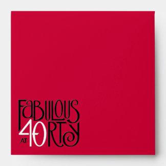 Sobre rojo blanco negro de la invitación 40 fabulo