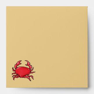 Sobre rojo de la invitación de la arena del cangre