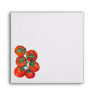 Sobre rojo de la invitación de los tomates