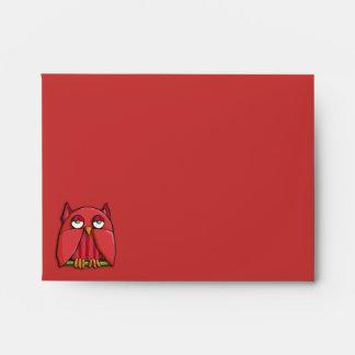 Sobre rojo de la tarjeta de nota A2 del búho rojo