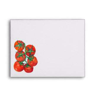 Sobre rojo de la tarjeta de nota de los tomates