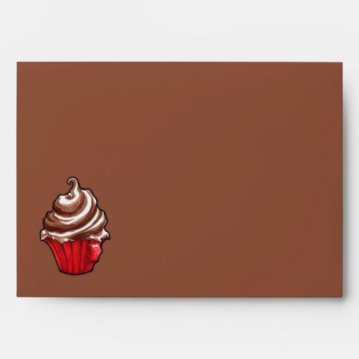 Sobre rojo de la tarjeta del café de la magdalena