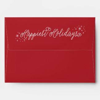 Sobre rojo del navidad de la escritura más feliz