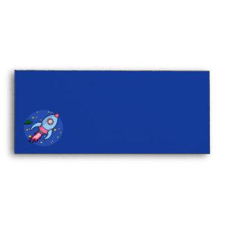 Sobre rosado azul del papel con membrete de Rocket