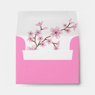 Sobre rosado de Mitzvah RSVP del palo de los flore