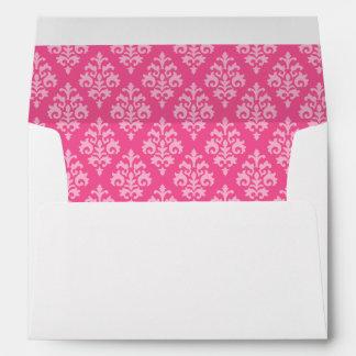 Sobre rosado elegante 5x7 del damasco