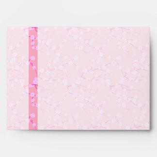 Sobre rosado y blanco de las flores de cerezo