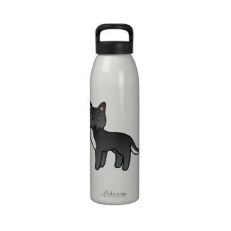 Sobre todo husky siberiano negro del dibujo animad botellas de agua reutilizables