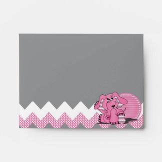 Sobre tonto rosado divertido del elefante de