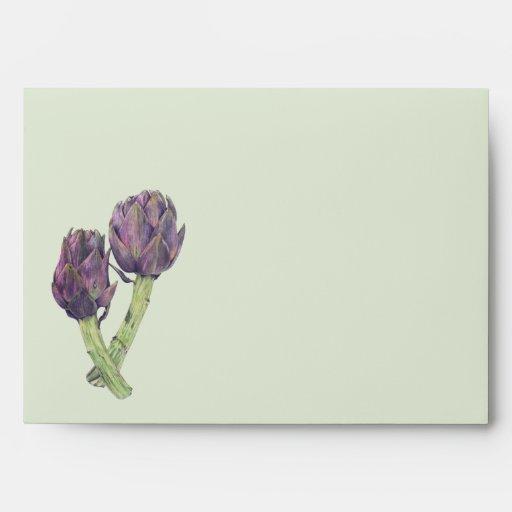 Sobre verde de la tarjeta A7 de las alcachofas