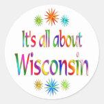 Sobre Wisconsin Pegatina Redonda