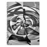 Sobrecarga abstracta negra y blanca cuadernos