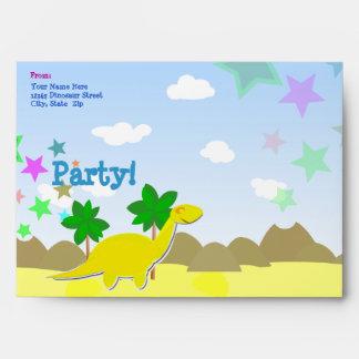 Sobres amarillos de encargo del fiesta de Dino del