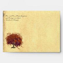 Sobres anaranjados del árbol del corazón del cirue