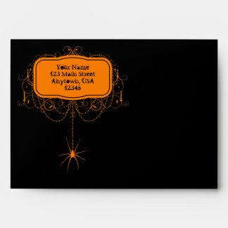 Sobres anaranjados negros del fiesta de Halloween