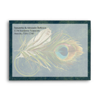 Sobres artísticos de la pluma del pavo real de