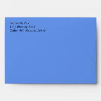 Sobres azules A7 del Cornflower con el remite