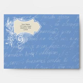 Sobres azules de la escritura del vintage A7 del