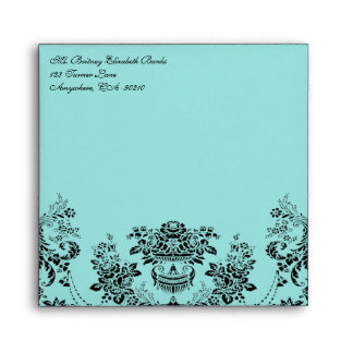 Sobres azules del boda del damasco negro