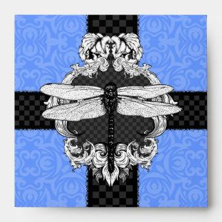 Sobres cuadrados azules de la libélula del