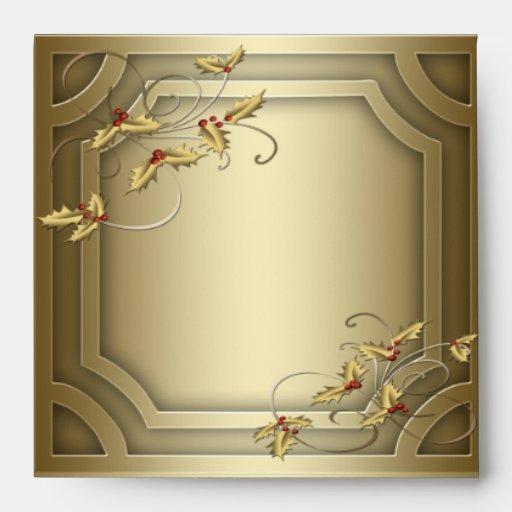 Sobres cuadrados del navidad del acebo del oro