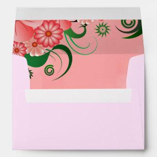 Sobres de encargo elegantes florales rosados del