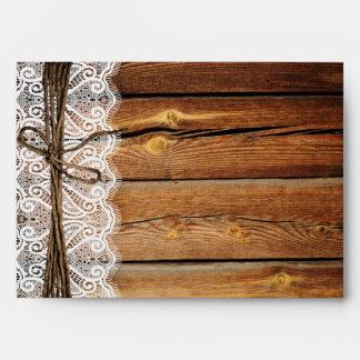 Sobres de madera del boda de la guita del cordón d