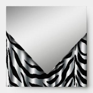 Sobres de plata elegantes de la cebra