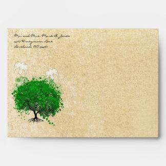 Sobres del árbol de la hoja del corazón de la
