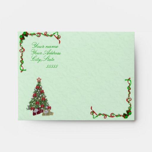 Sobres del día de fiesta A2 del árbol de navidad