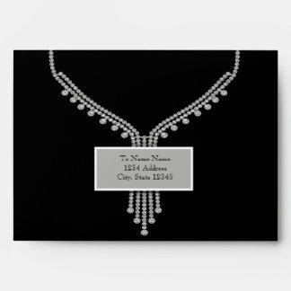 Sobres del negro de la placa de plata del diamante