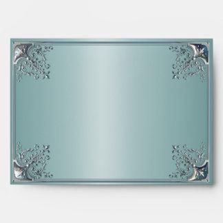 Sobres elegantes del azul de la plata y del trullo