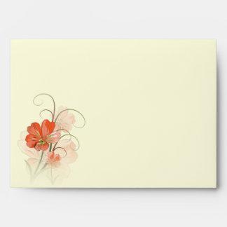 Sobres florales abstractos A7 del coral y de la