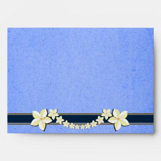 Sobres florales azules rústicos del personalizado