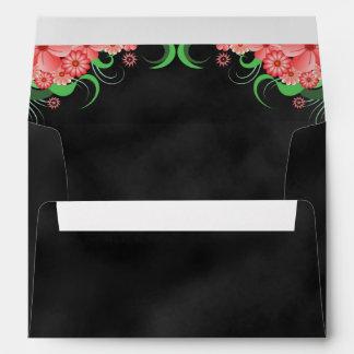 Sobres florales de la pizarra del rosa negro del