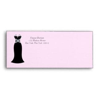 Sobres negros del rosa del vestido