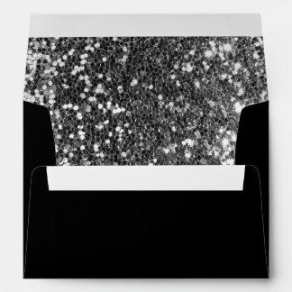 Sobres negros y de plata 5x7 de las lentejuelas