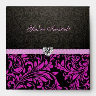 Sobres púrpuras y negros elegantes del damasco