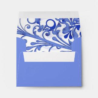 Sobres que se casan florales azules y blancos A-2