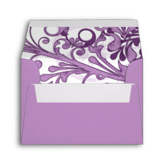 Sobres que se casan florales púrpuras y blancos A-