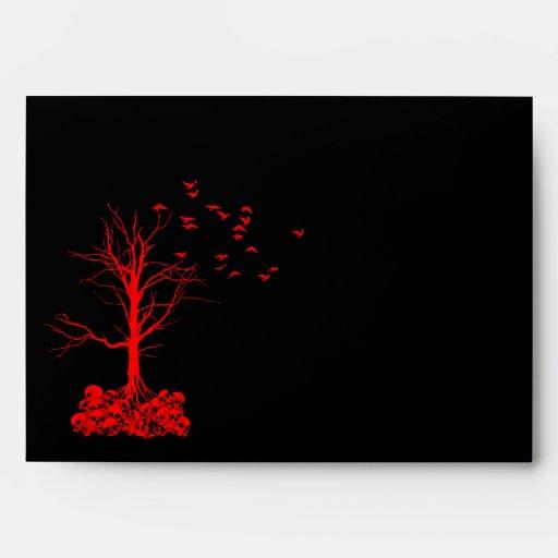 Sobres rojos de Halloween del cráneo A7 del negro
