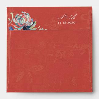 Sobres rojos rústicos del cuadrado de la invitació
