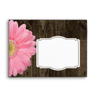 Sobres rosados de madera rústicos del