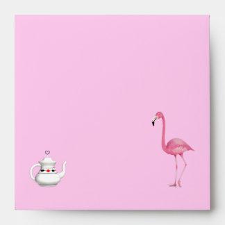 Sobres rosados del flamenco y de la tetera del