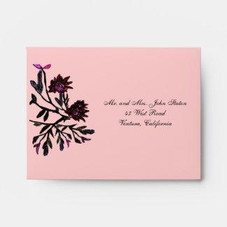 Sobres rosados del terciopelo Thankyou/RSVP